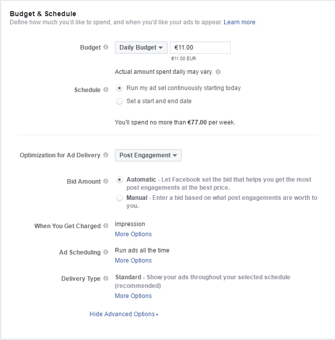 facebook mainonta budjetti