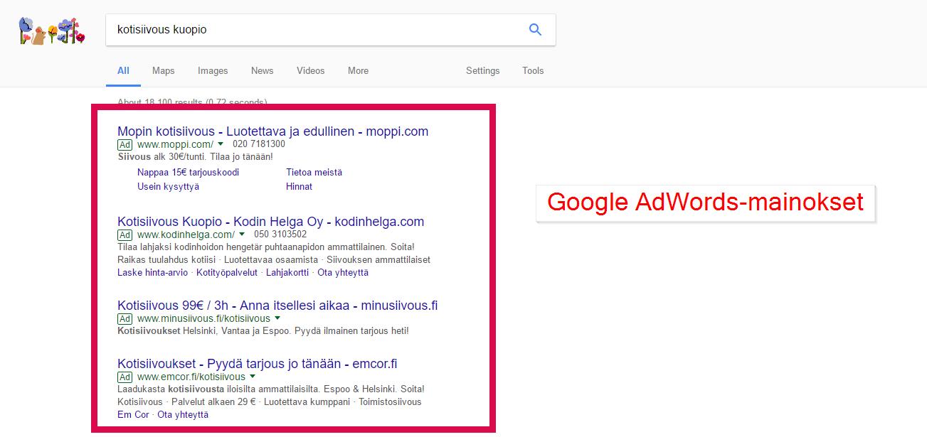 google adwords-mainokset