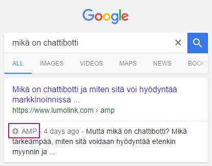 Alla on esimerkki hakutuloksista AMP-sisällöllä (LumoLink hakutulokset)