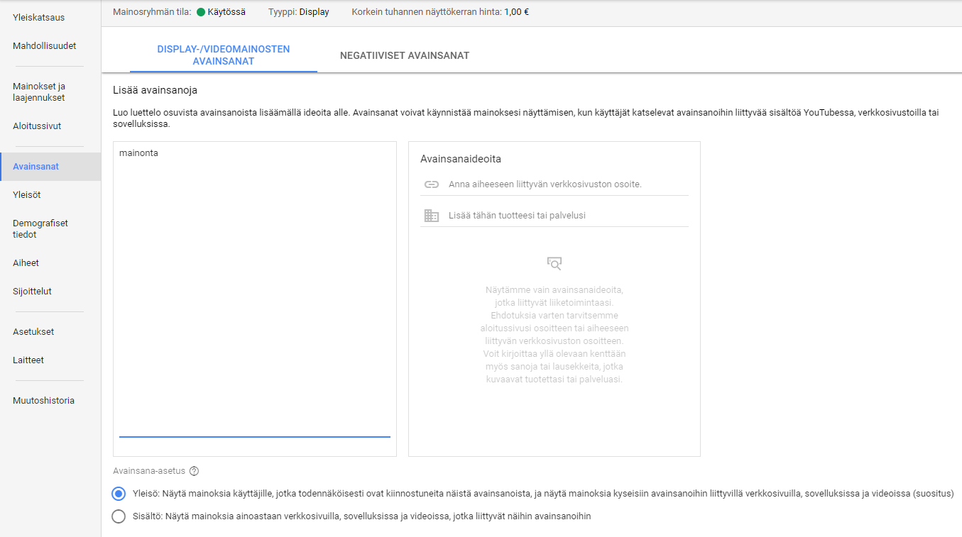 AdWords display avainsanat