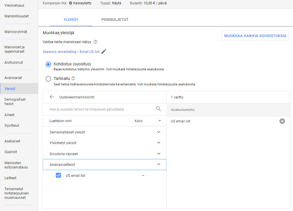 AdWords Display kohdistus