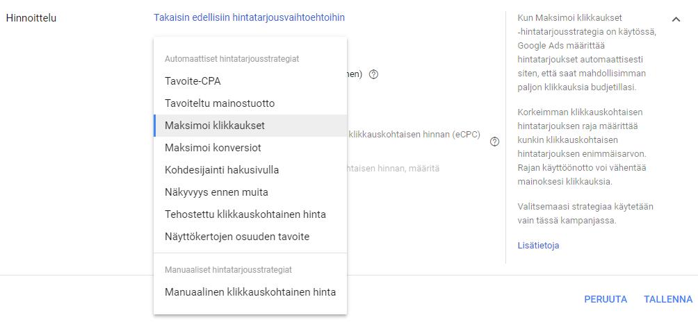 Google Ads hintatarjous