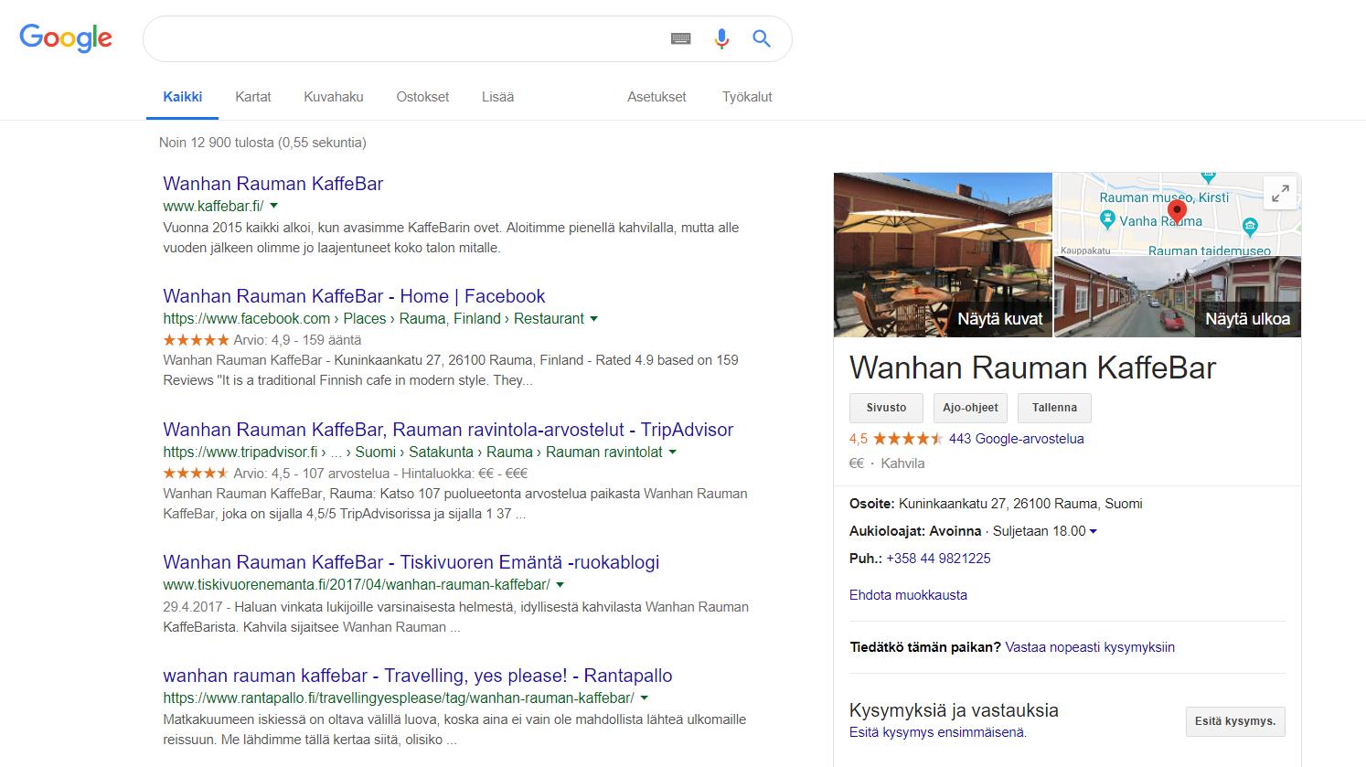 Google My Business näkymä kahvilasta