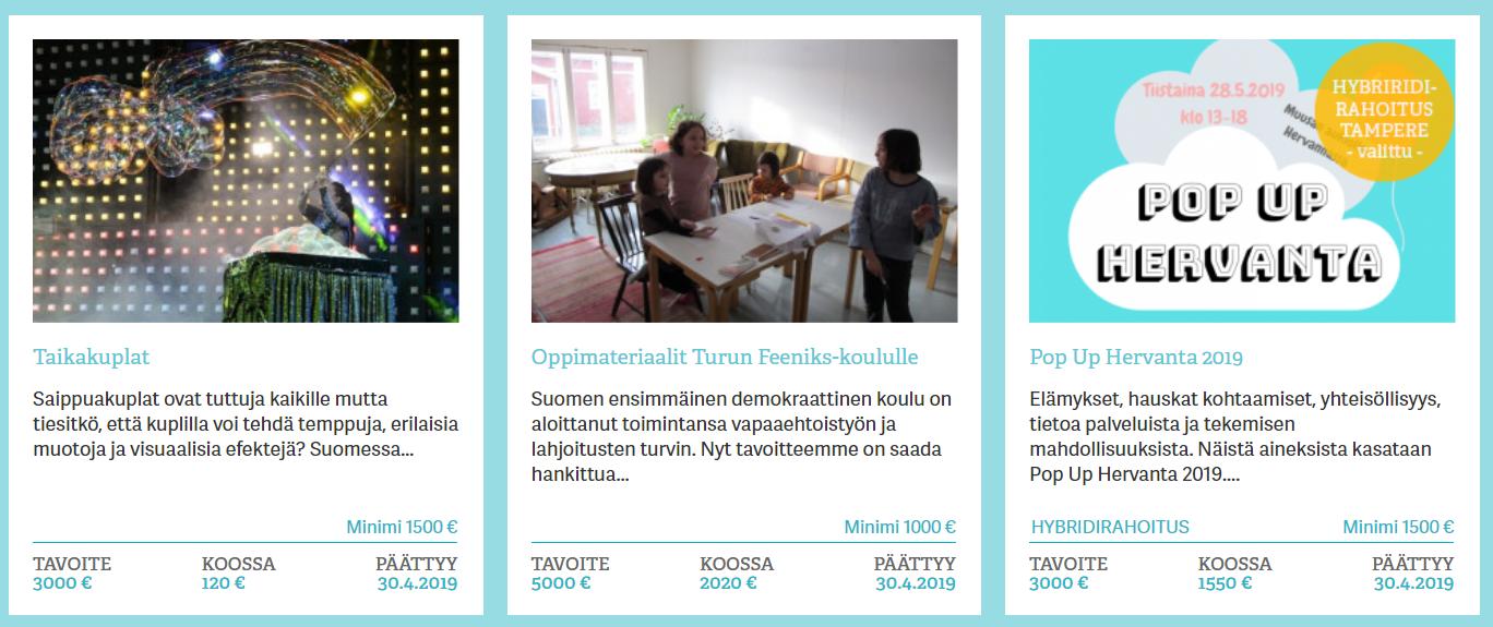 Joukkorahoitus mesenaatti.me -sivuston kampanjoita