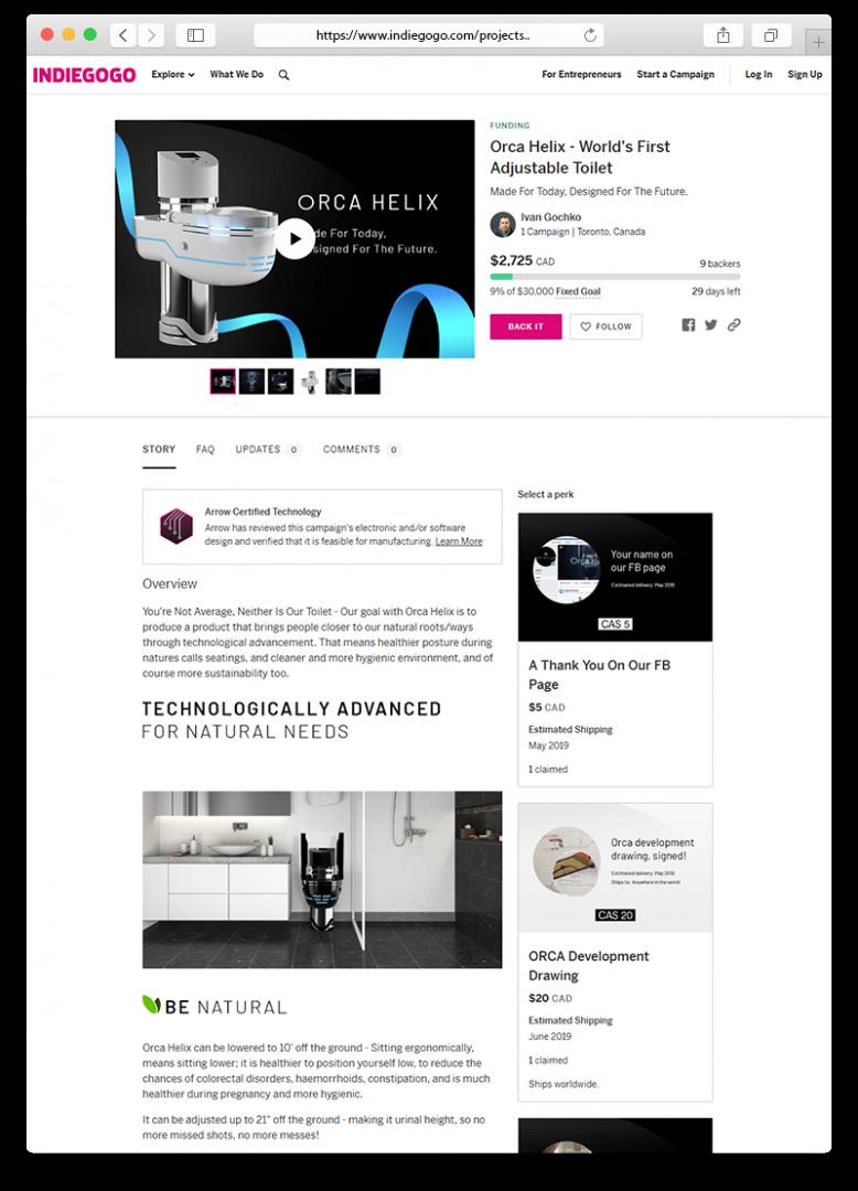 Orca Helix IndieGoGo-joukkorahoituskampanja