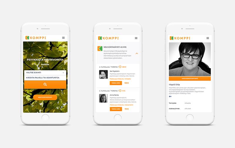Komppi.net mobiilinäkymä