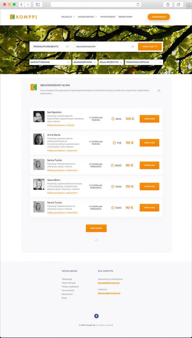 Komppi.net ajanvaraussivu