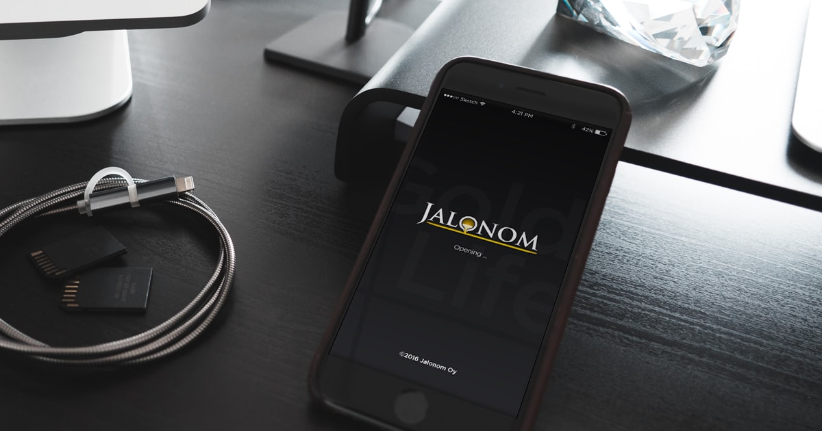 Kuva puhelimesta jossa Jalonomin mobiilisovellus on auki.
